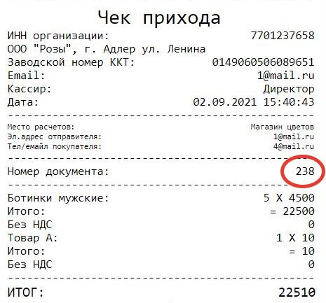 Номер документа на кассовом чеке